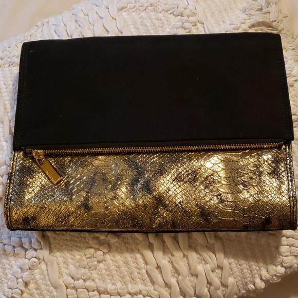 Black/Gold velvet clutch